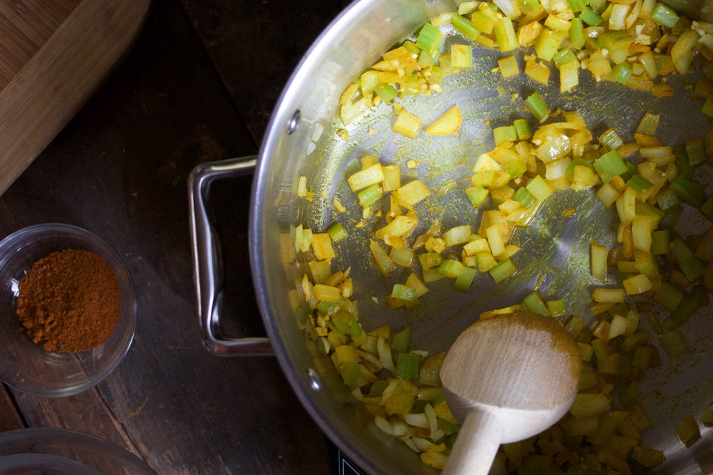Build flavors by sautéing your aromatics in oil.